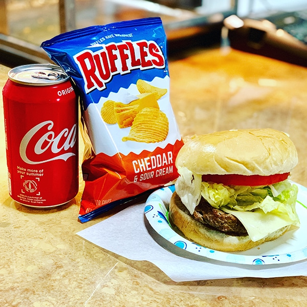 combo meal burger coke chips